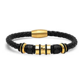 Mens Steeltime 18kt. Gold Plated & Leather Braided