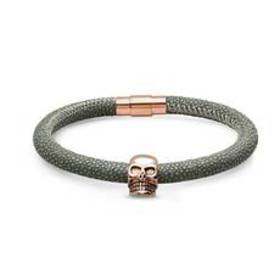 Mens Grey Leather Textured Bracelet with Rose-Plat