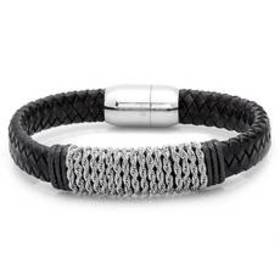 Mens Hypoallergenic and Black Leather Braided Brac