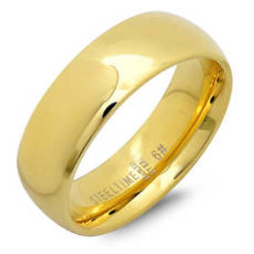 Steeltime Unisex 18kt. Gold Plated 6mm Classic Ban