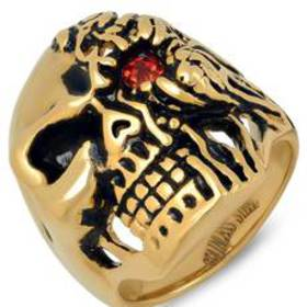 Mens 18kt. Gold-Plated and Red Simulated Diamond S
