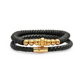 Mens 2pc. Black Leather Braided Bracelets with Bea