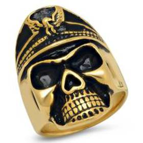 Mens 18kt. Gold-Plated and Black Carbon Fiber Ring