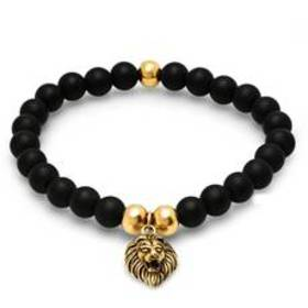 Mens Black Lava Beaded Bracelet with Gold-Plated L