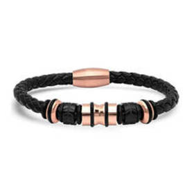 Mens Steeltime 18kt. Rose Gold & Leather Braided B