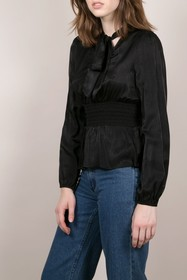 FRNCH Satin Woven Tie Neck Blouse