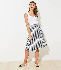 Striped Tie Waist Midi Skirt