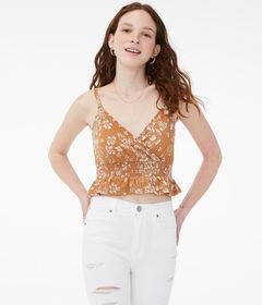 Aeropostale Floral Smocked Surplice Crop Top