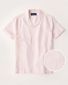 Linen-Blend Camp Collar Button-Up Shirt, PINK STRI