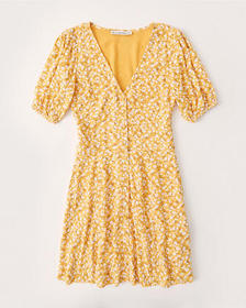 Puff-Sleeve Button-Front Mini Dress, YELLOW FLORAL