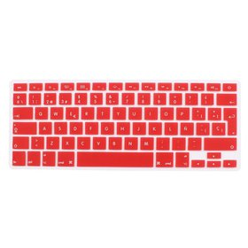Spanish Silicone Keyboard Skin Cover Red for Apple
