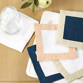 Bunny Williams Banded Cocktail Napkins - White/Per