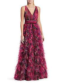 V-Neck Printed Textured Tulle Gown PLUM