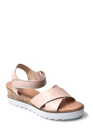 Nicole Miller Magaine Cross Strap White Sole Wedge