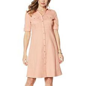 """As Is"" Nina Leonard Denim Button-Up Flare Dress"