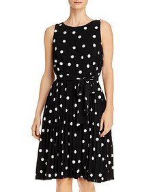 T Tahari - Pleated Polka Dot Tie-Waist Dress