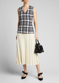 Theory Tweed Sculpted U-Neck Shell