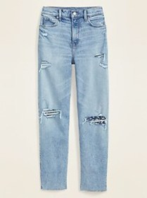 Extra High-Waisted Sky-Hi Straight Distressed Jean