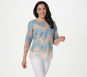 """As Is"" Linea by Louis Dell'Olio Inset Lace Top -"
