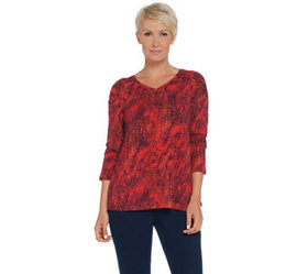 """As Is"" H by Halston Printed V-Neck Top with Shoul"