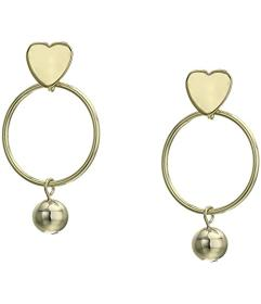 Kenneth Jay Lane Gold Heart Top with Round Hoop\u0