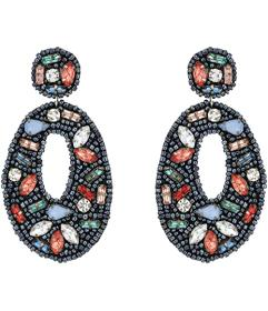 Kenneth Jay Lane Black Seed Bead with Multicolor S