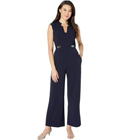 Tahari by ASL Petite Notch Neck Crepe Jumpsuit w\u