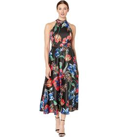 Tahari by ASL Sleeveless Printed Maxi with High Ne