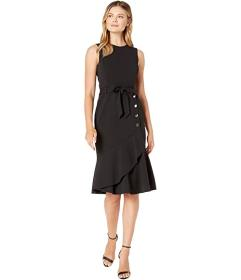 Calvin Klein Tie Front Dress with Flare and Button