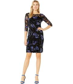 Tahari by ASL Long Sleeve Illusion Burnout Floral