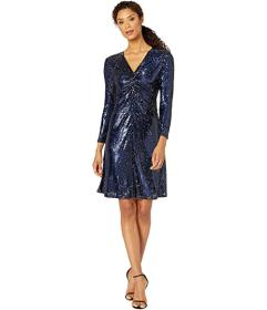 Tahari by ASL Long Sleeve Stretch Sequin Twist Fro