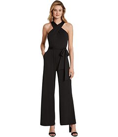 Tahari by ASL Crisscross Neck Jumpsuit