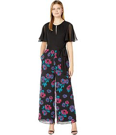 Tahari by ASL Printed Chiffon Jumpsuit with Solid