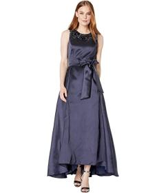 Tahari by ASL Solid Mikado Ball Gown with Embellis