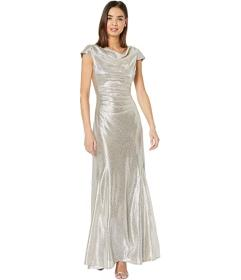 Tahari by ASL Short Sleeve Metallic Gown with Drap