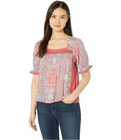 Lucky Brand Square Neck Smocked Top