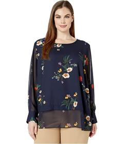 Vince Camuto Plus Size Long Sleeve Surreal Garden