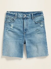 High-Waisted Relaxed Distressed Cut-Off Jean Short