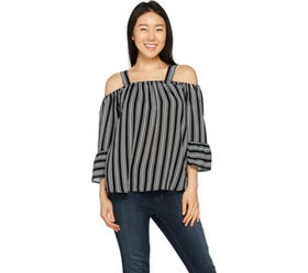 """As Is"" Hot in Hollywood Tiered Cold Shoulder Top"