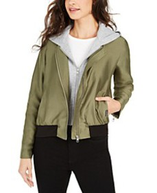 Satin Bomber Jacket With Removable Hood