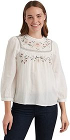 Lucky Brand Long Sleeve Crew Neck Embroidered Yoke
