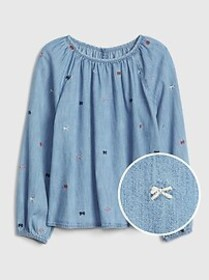 Kids Embroidered Bow Denim Top