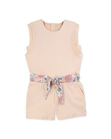 Chloé - Girls' Cotton Floral Print Belted Romper -