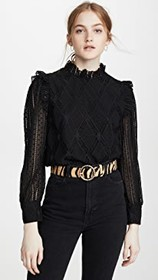 alice + olivia Jos Puff Sleeve Cropped Top