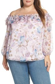 Vince Camuto Poetic Blooms Off-the-Shoulder Top (P