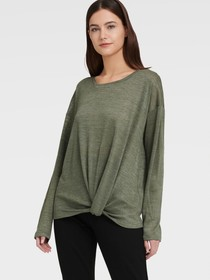 Donna Karan LONG SLEEVE TEE WITH FRONT KNOT