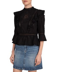 The Kooples - Solar Flowers Cotton Broderie Top