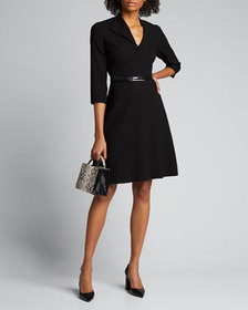 Elie Tahari Elodie Belted 3/4-Sleeve Crepe Dress