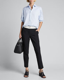 Tibi Anson Stretch Pants with Inside-Out Waistband