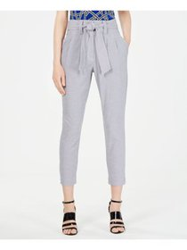CALVIN KLEIN Womens Navy Check Cropped Pants Petit